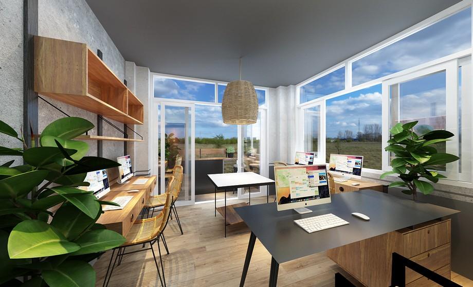 Phòng làm việc nhỏ 20m2 tận dụng ánh sáng trời với rất nhiều cửa kính