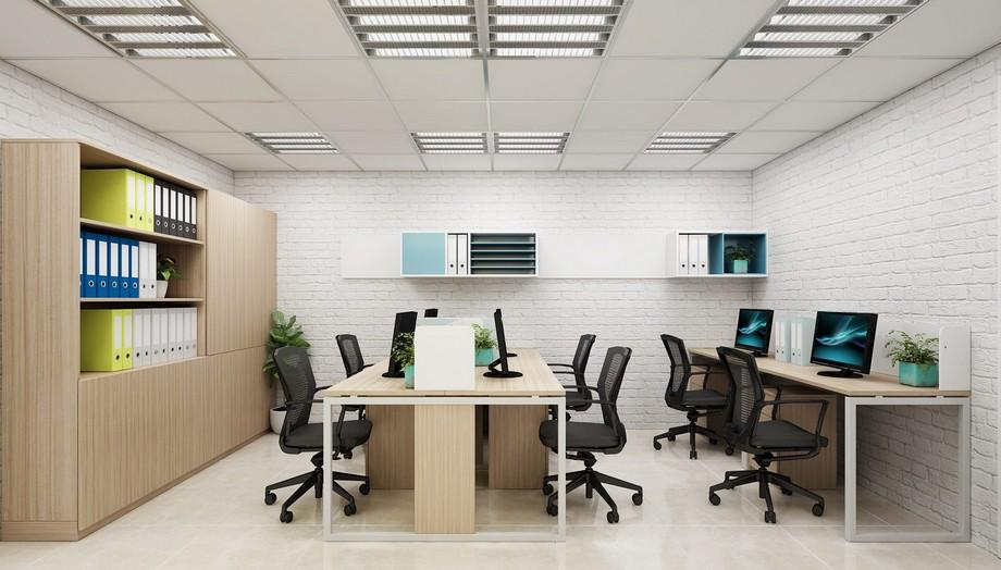 Bố trí phòng làm việc khoa học với tông màu sáng giúp không gian thêm rộng rãi