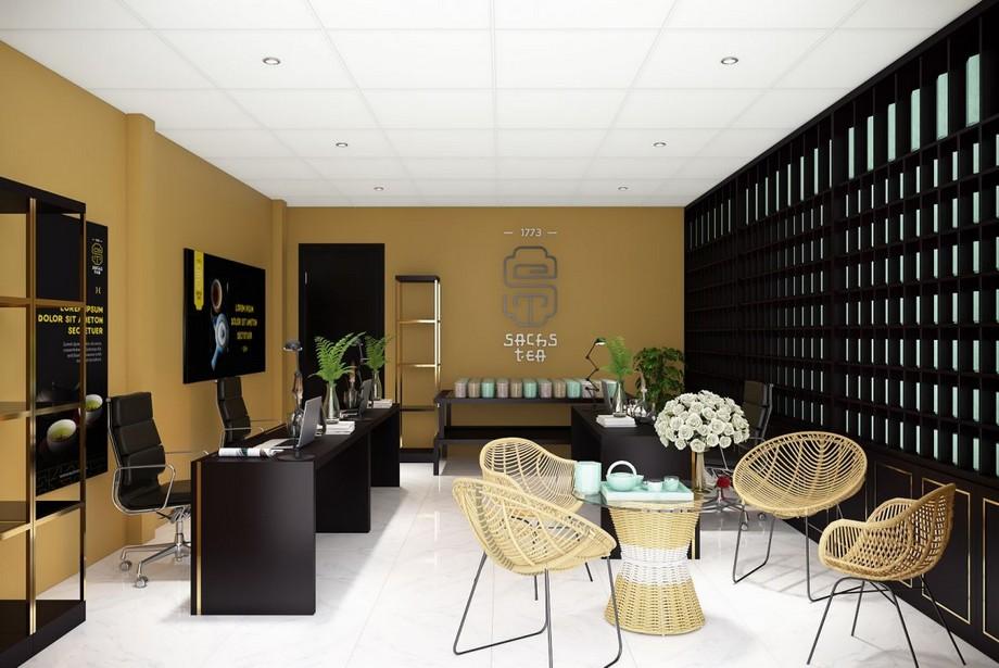 Phòng làm việc nhỏ với màu vàng và đen cá tính