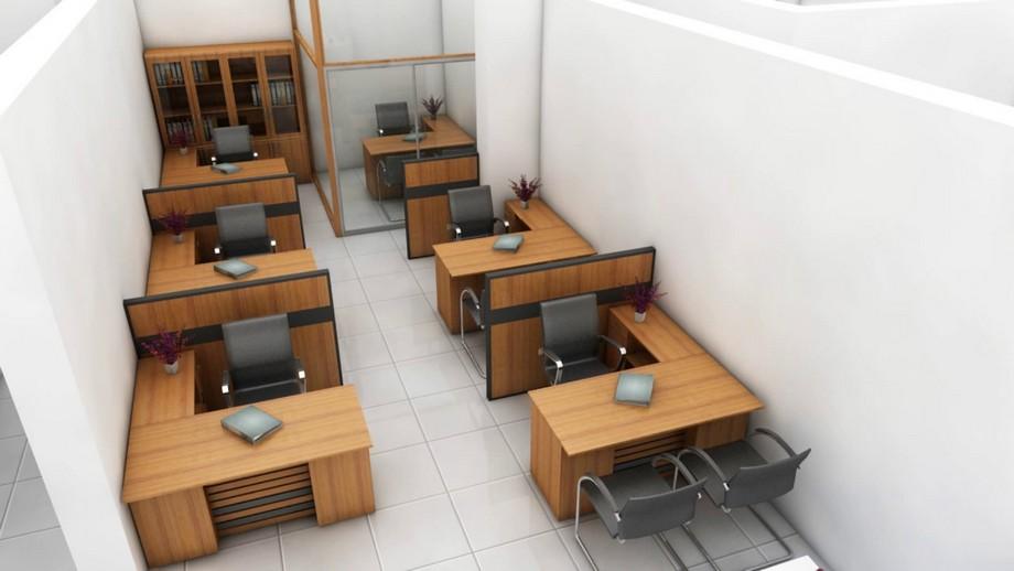 Phòng làm việc nhỏ được thiết kế khoa học, sử dụng vách ngăn kính ngăn cách với phòng giám đốc