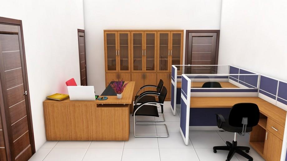 Thiết kế phòng làm việc nhỏ với tường màu trắng, nội thất hiện đại