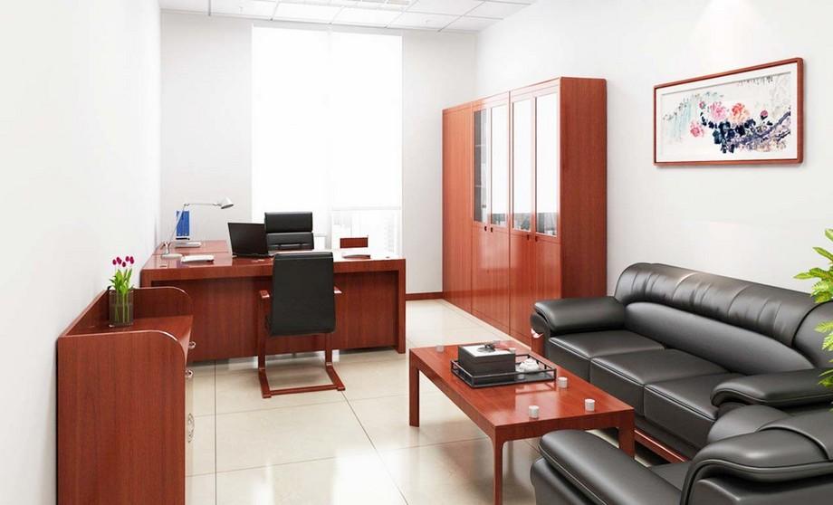 Phòng giám đốc 20m2 được thiết kế với nội thất gỗ gọn gàng, không quá cồng kềnh