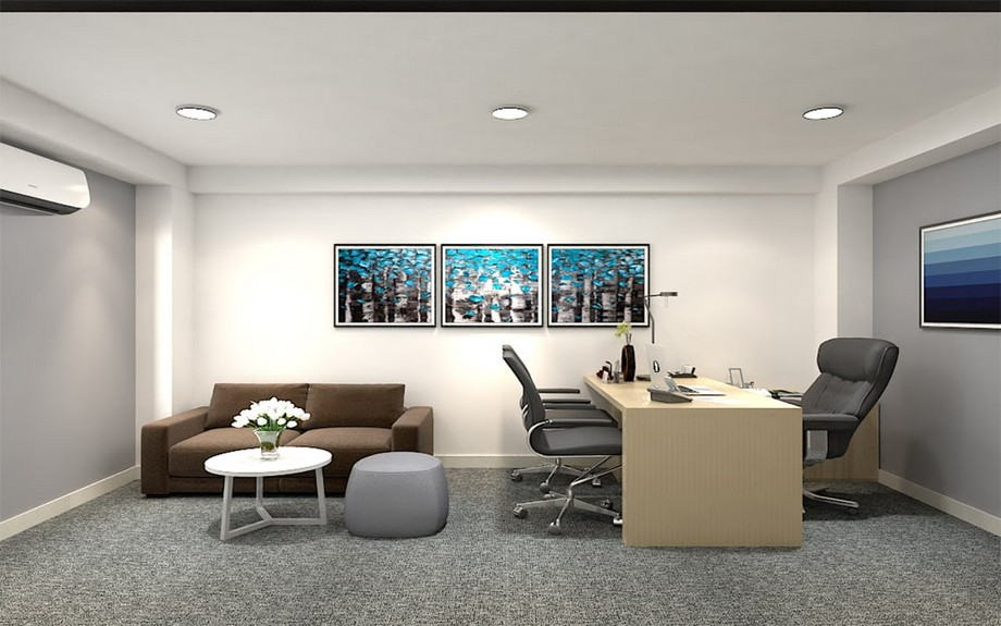 Thiết kế phòng giám đốc 20m2 phong cách hiện đại, tối giản, gam màu sáng