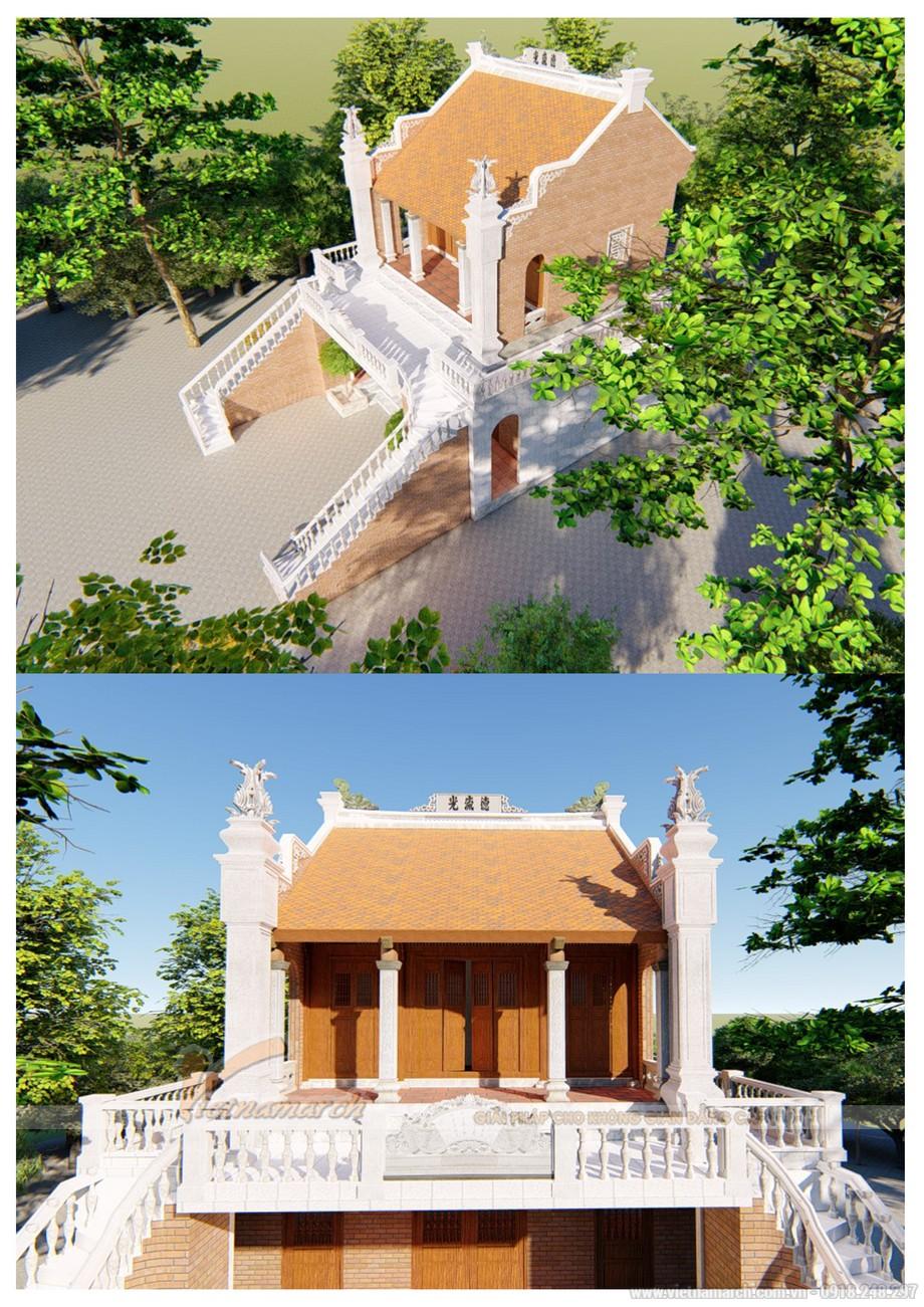 Mẫu nhà thờ họ 2 tầng đẹp chuẩn phong thủy với diện tích đất từ 40m2 trở lên