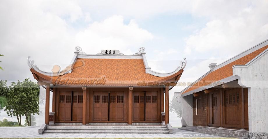 Nhà thờ họ 3 gian 4 mái kết hợp nhà ngang với nhiều công năng tiện ích khác