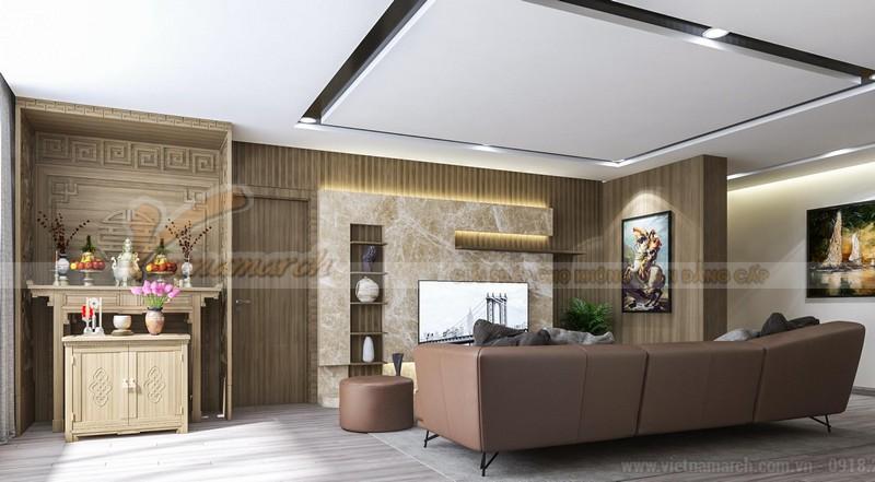 Thiết kế nội thất phòng thờ kết hợp phòng khách cho chung cư tại Hai Bà Trưng Hà Nội