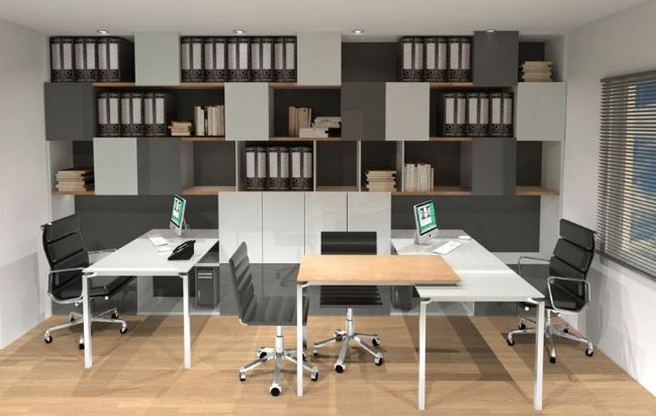 Thiết kế văn phòng siêu nhỏ với hệ tủ tài liệu ấn tượng