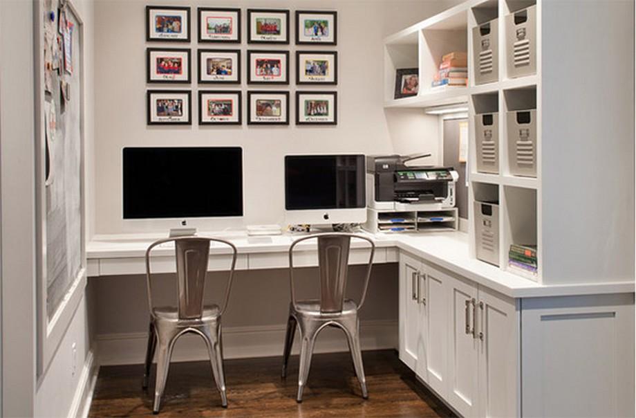 Thiết kế văn phòng siêu nhỏ phong cách Scandinavian tông màu trắng nhẹ nhàng của tủ và tường