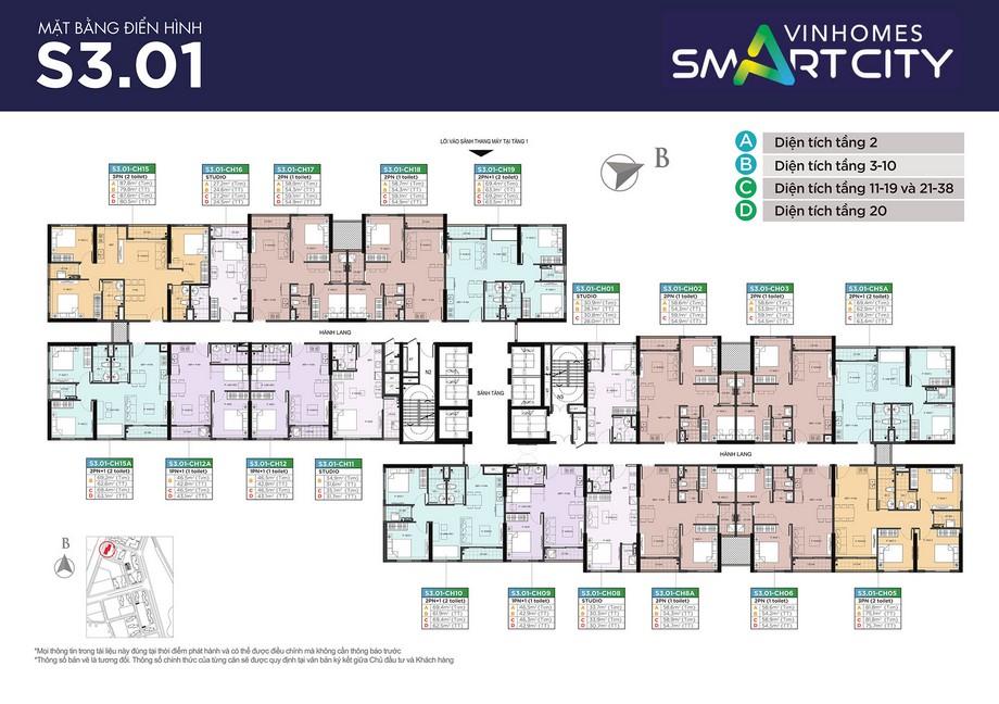 Mặt bằng thiết kế các căn hộ tòa The Sapphire Vinhomes Smart City