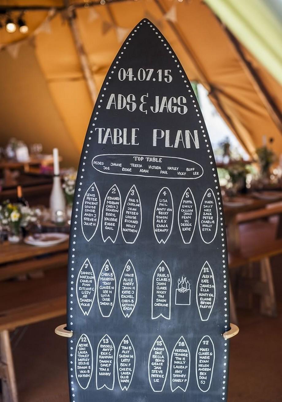 Ý tưởng trang trí hội trường tiệc cưới với tấm bảng hình ván trượt