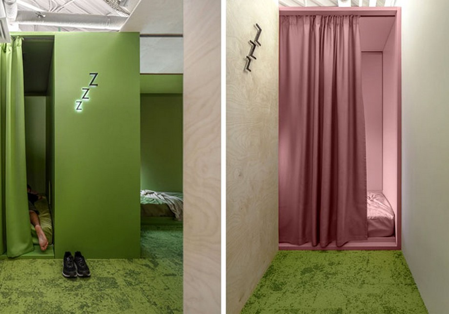 Phòng nghỉ ngơi thư giãn của công ty được thiết kế khá thú vị và độc đáo