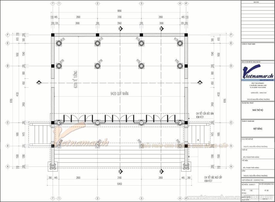 Bản vẽ thiết kế nhà thờ họ 3 gian 100m2