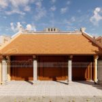 Bản vẽ thiết kế nhà thờ họ 3 gian bê tông giả gỗ 100m2 tại Thái Bình