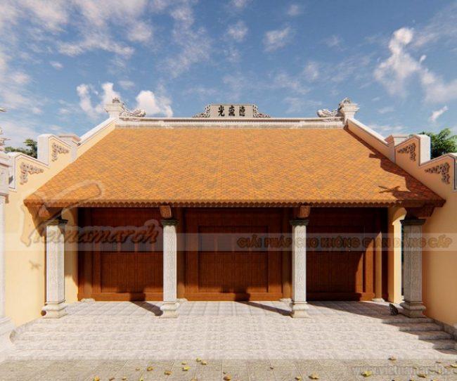 Bản vẽ thiết kế nhà thờ họ 3 gian bê tông giả gỗ 100m2