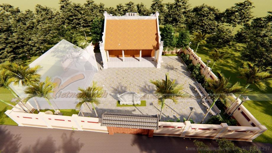 Phối cảnh tổng thể mẫu nhà thờ họ 3 gian 2 mái