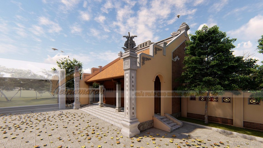 Bản vẽ thiết kế 3D nhà thờ họ 3 gian 2 mái 100m2