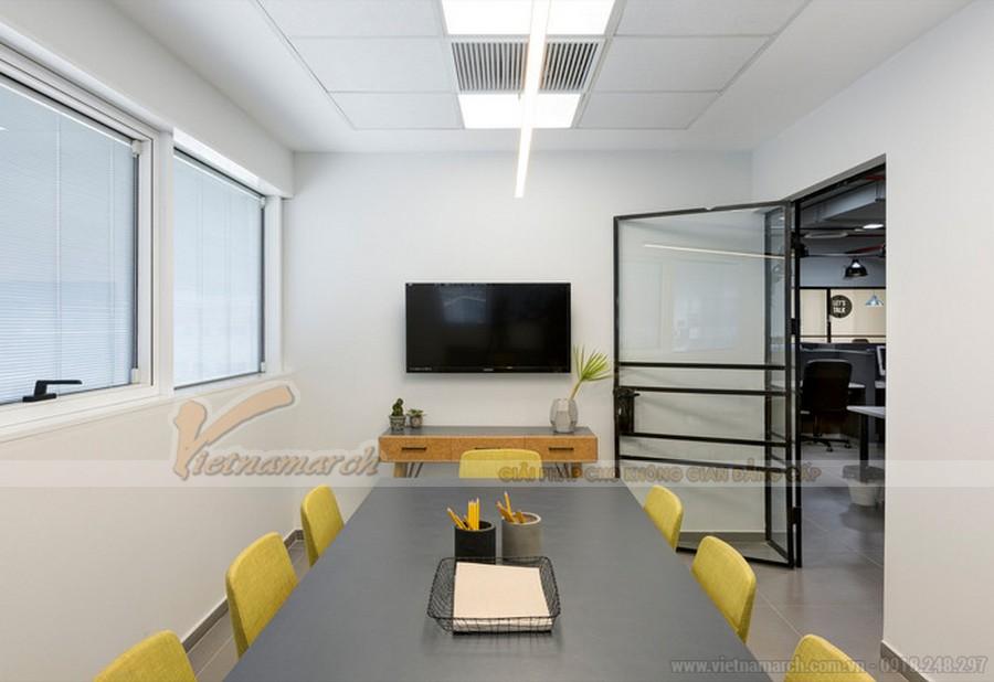 Thiết kế nội thất phòng họp siêu nhỏ đơn giản với các điểm nhấn thị giác