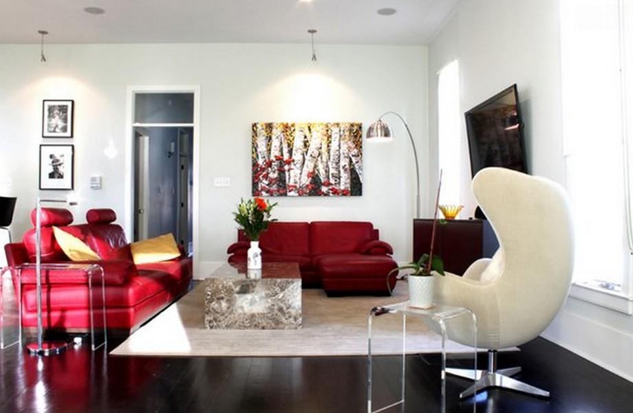 Thiết kế nội thất chung cư với mẫu sofa đỏ