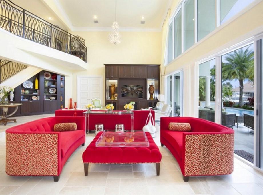 Thiết kế Phòng khách biệt thự với bộ sofa nỉ nhung màu đỏ
