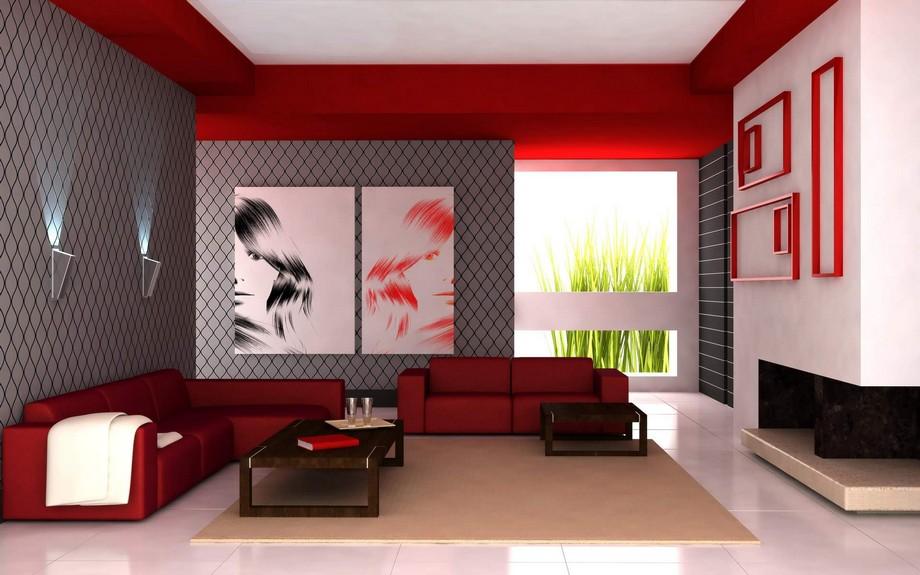 Thiết kế Phòng khách sành điệu với mẫu sofa hiện đại màu đỏ
