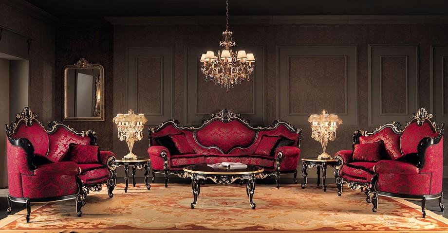 Với thiết kế biệt thự cổ điển, gia chủ đừng ngại ngần khi sử dụng màu đỏ trong phòng khách