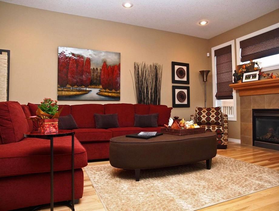 Phòng khách nhỏ thêm xinh với mẫu sofa đỏ