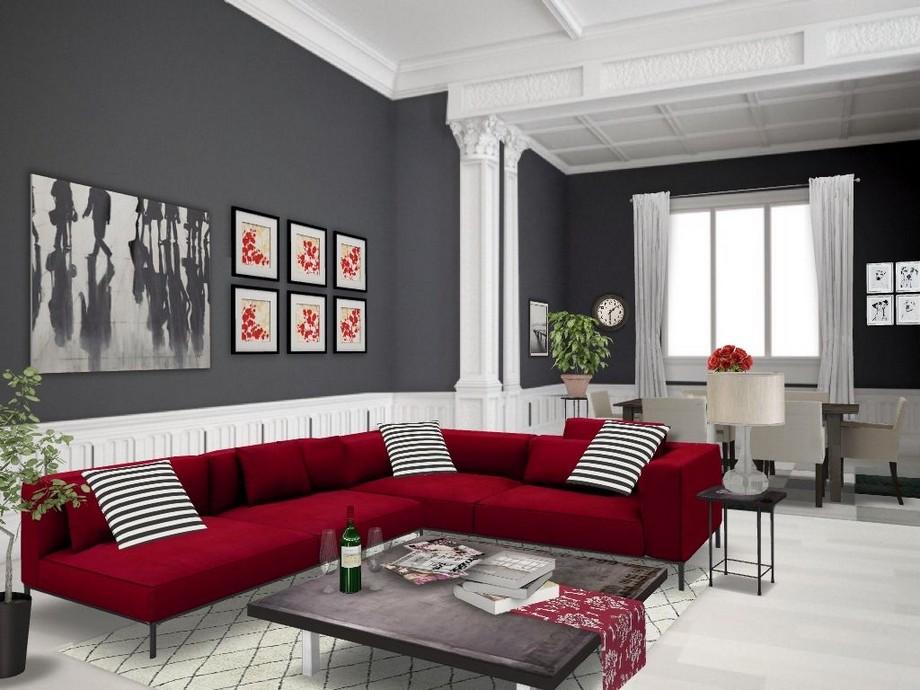 Thiết kế Phòng khách sành điệu đầy tính thẩm mỹ với sự kết hợp với sofa góc đỏ