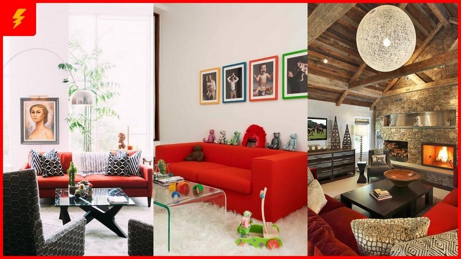 Kết hợp sofa đỏ trong nhiều không gian phòng khách