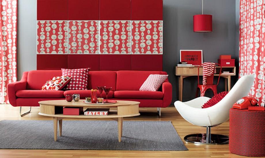 Thiết kế phòng làm việc tại nhà với sofa đỏ