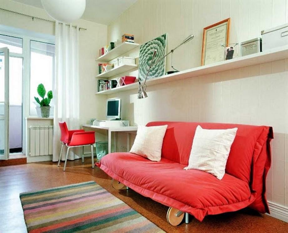 Thiết kế phòng khách kết hợp phòng làm việc nhỏ tại nhà vơi sofa đỏ