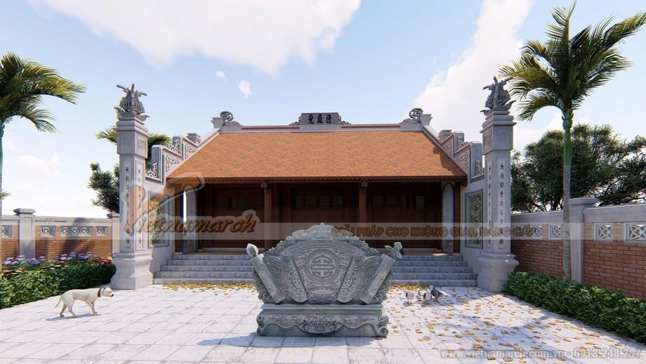 Bản vẽ thiết kế nhà thờ họ 3 gian 2 mái bê tông sơn giả gỗ