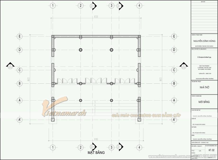 Bản vẽ thiết kế nhà thờ họ bê tông sơn giả gỗ 70m2