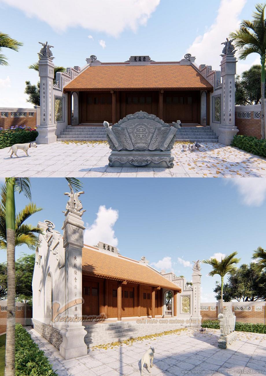 Bản vẽ thiết kế nhà thờ họ 3 gian 2 mái