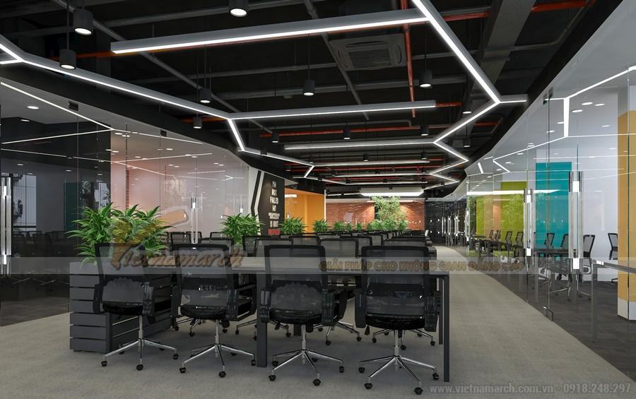 Thiết kế khu vực làm việc chung cho nhân viên - văn phòng Golden West Thanh Xuân