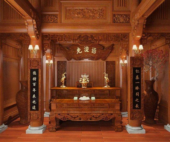 100 mẫu phòng thờ truyền thống chuẩn phong thủy