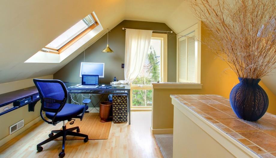 Thiết kế văn phòng làm việc đơn giản với hai gam màu xanh trắng
