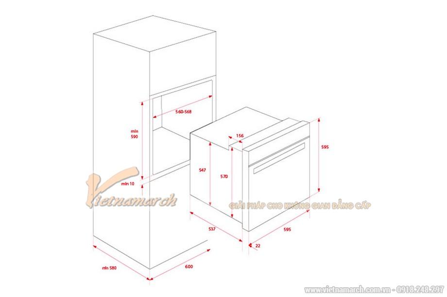 Kích thước lò nướng âm tủ Teka HSB 635