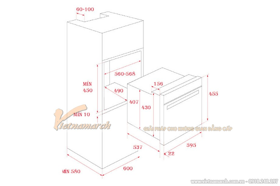 Kích thước lò nướng Teka HLC 840
