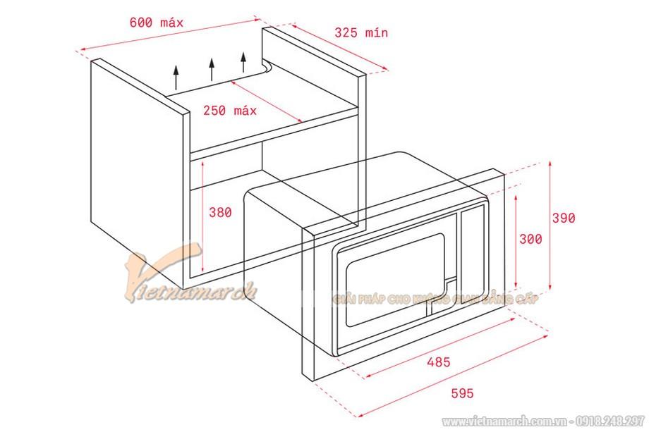 Kích thước lò vi sóng âm tủ Teka MS 620 BIH 20L