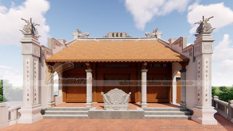 Thiết kế nhà thờ họ 3 gian 2 mái bê tông sơn giả gỗ