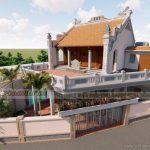 Dự án thiết kế nhà thờ họ kết hợp nhà ở kết cấu bê tông sơn giả gỗ tại Thường Tín Hà Nội