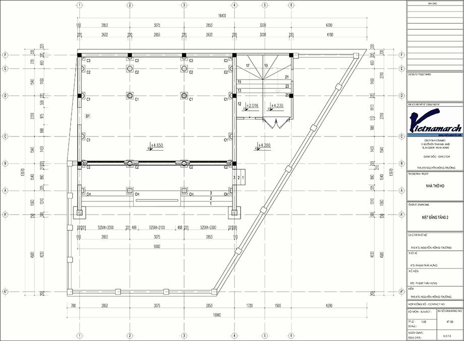 Bản vẽ mặt bằng của dự án thiết kế nhà thờ họ 2 tầng kết hợp nhà ở tại Thường Tín