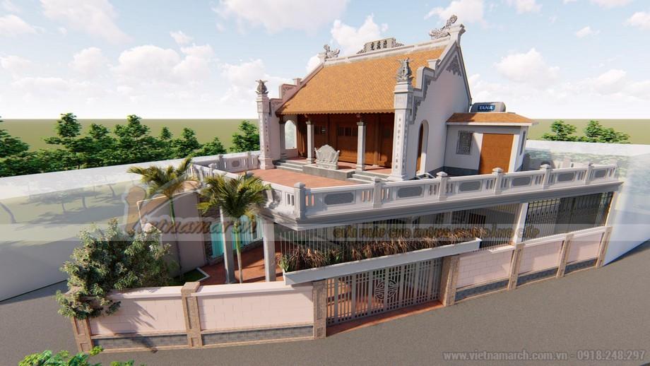 Thiết kế nhà thờ họ 2 tầng kết hợp nhà ở với bê tông sơn giả gỗ