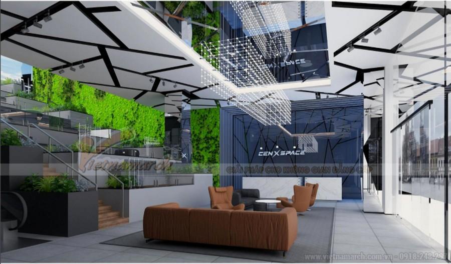 Mẫu thiết kế sảnh văn phòng đẹp cho coworking space