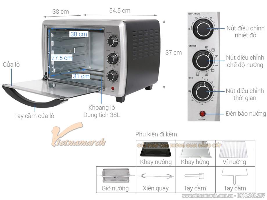 Kích thước lò nướng Electrolux EOT38MXC 38 lit