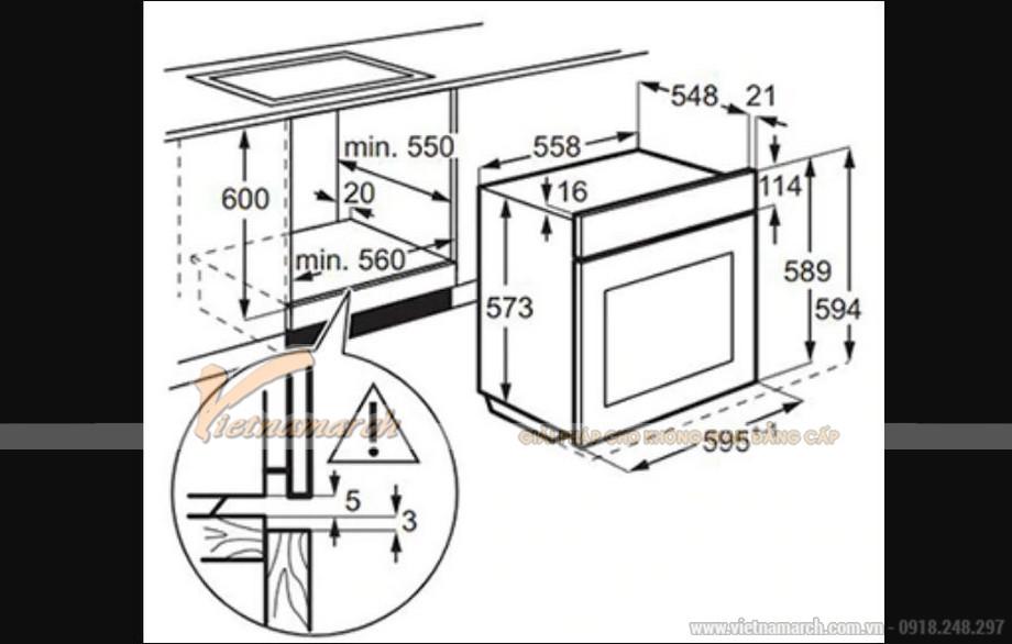 Kích thước lò nướng Electrolux EOB3434BOX
