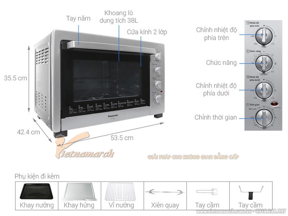 Kích thước lò nướng Panasonic NBH3800SRA