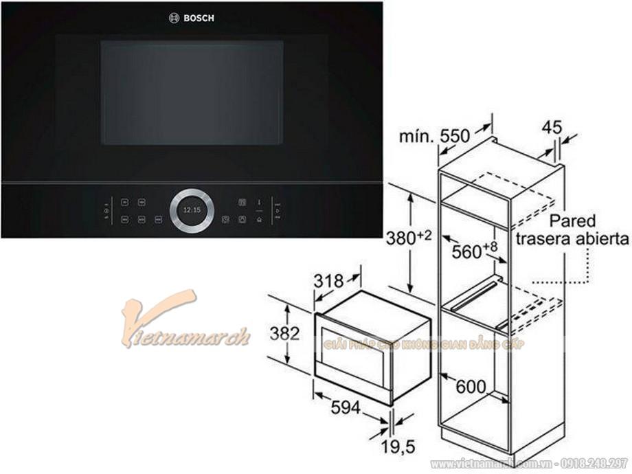 Kích thước lò vi sóng âm tủ Bosch BFL634GB1 21L