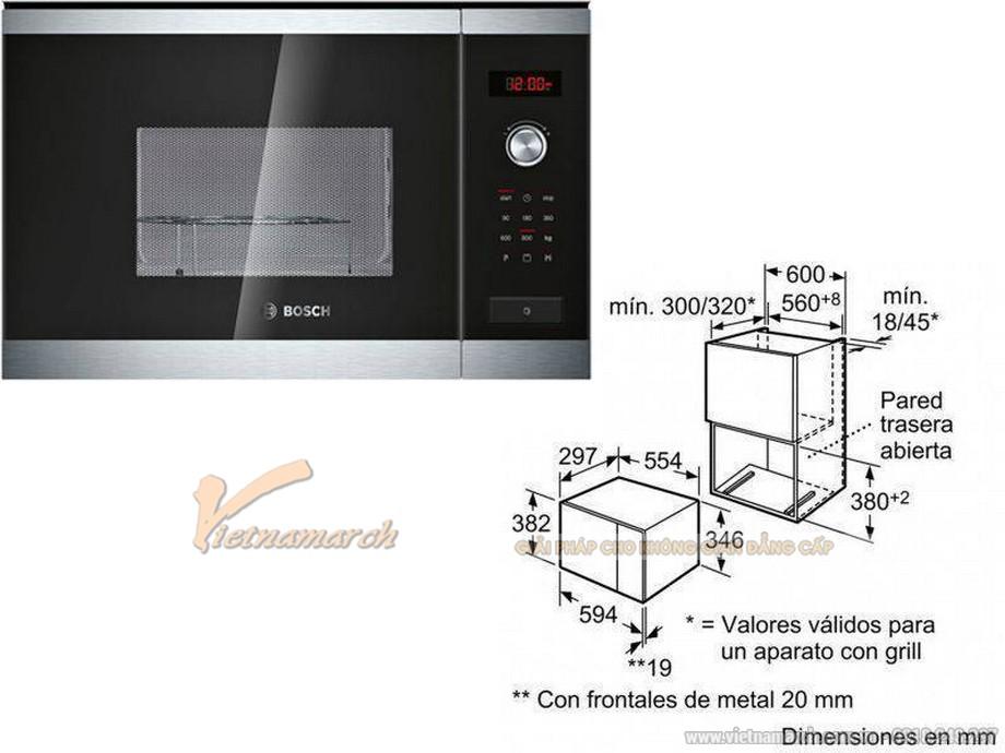 Kích thước lò vi sóng âm tủ Bosch HMT75G654 20L
