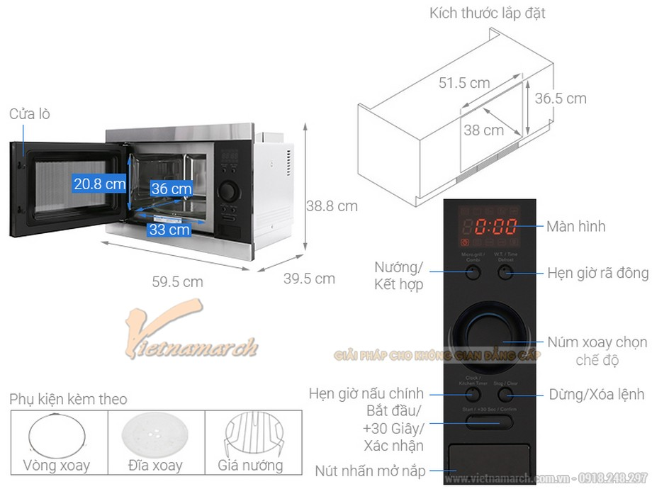 Kích thước lò vi sóng âm tủ Electrolux EMS2540X 25L